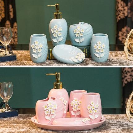 3D Blue Ceramic Flower Bathroom Accessories Bathroom Set ...