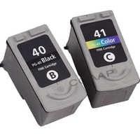 2x compatibile canon pg40 nero + color cl41 cartuccia di inchiostro per stampanti pixma ip1600 ip6220d ip6210d ip2200 mp150 mp170 mp450