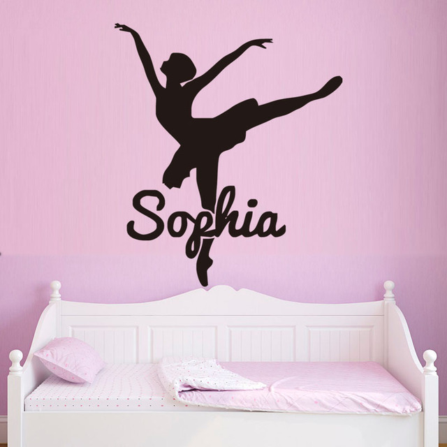 Personalized Name Ballerina Dance Wall Sticker Vinyl Removable Decals Girls Bedroom  Decor Living Room Wall Art Home Decoration