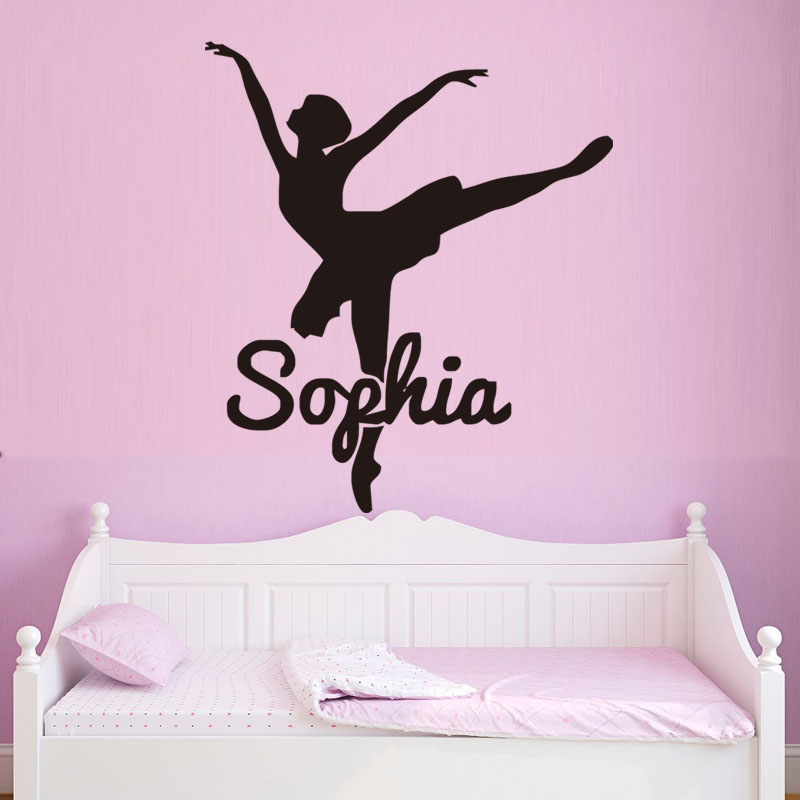Personalized Name Ballerina Dance Wall Sticker Vinyl Removable Decals Girls Bedroom Decor Living Room Wall Art