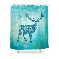 Aqua Turquoise Animal With Glitter Effect Blue Deer On Shower Curtain Custom Curtain For Bathroom Waterproof Polyester
