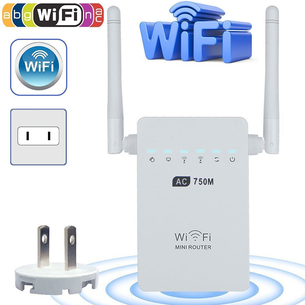 New AC750 5GHz 2.4GHz Dual Band Wireless Repeater wi-fi Extender Repeater Router WPS Button with 2 External Antennas цена