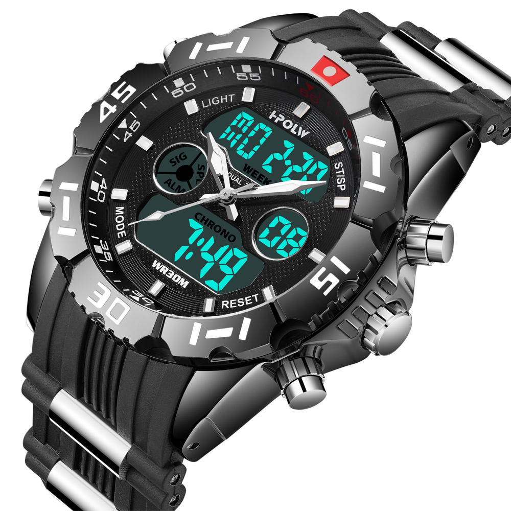 HPOLW Brand Men Sports Watches Fashion Chronos Rubber Men s Waterproof LED Digital Watch Man Military