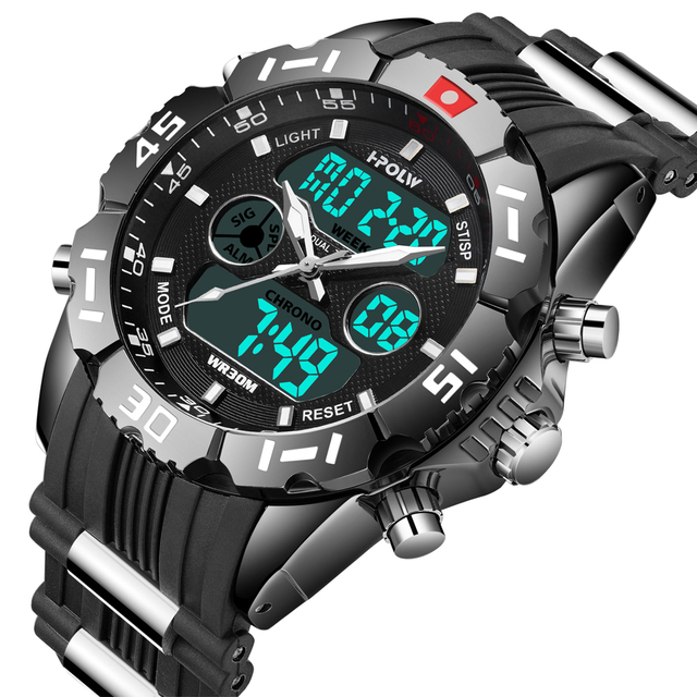 HPOLW Brand Men Sports Watches Fashion Chronos Rubber Men's Waterproof LED Digit