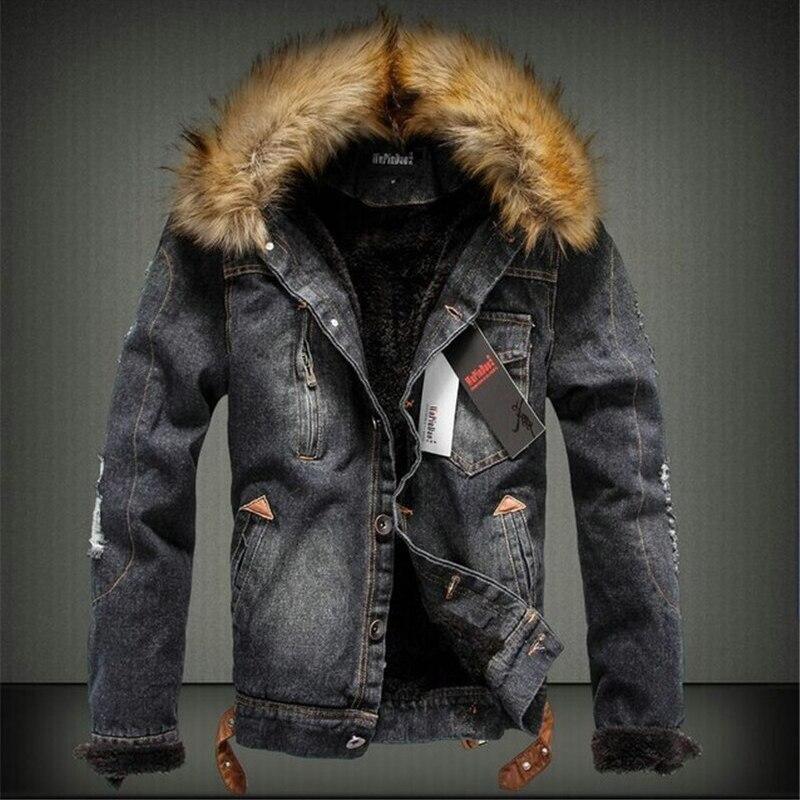 Зимние толстые джинсовая куртка Для мужчин меховой воротник Ретро рваные Для мужчин теплые Джинсы с флисом парки зимние Повседневное пальт...