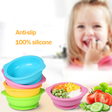 Kids Children Baby Plate 100% Silicone Dishes Bowl With Suction Cup Feeding Food Tray For Toddler