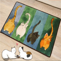 50x80cm Hot Sale Cute Cat Entrance Doormat Bathroom Carpet Kitchen Anti Slip Mat Floor Rug Cartoon