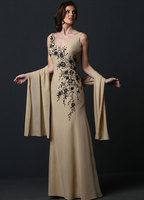 New Fashion Custom Made Charming A Line V Neck Lace Embroidery Backless Pearl Chiffon Mother Of The Bride Dresses
