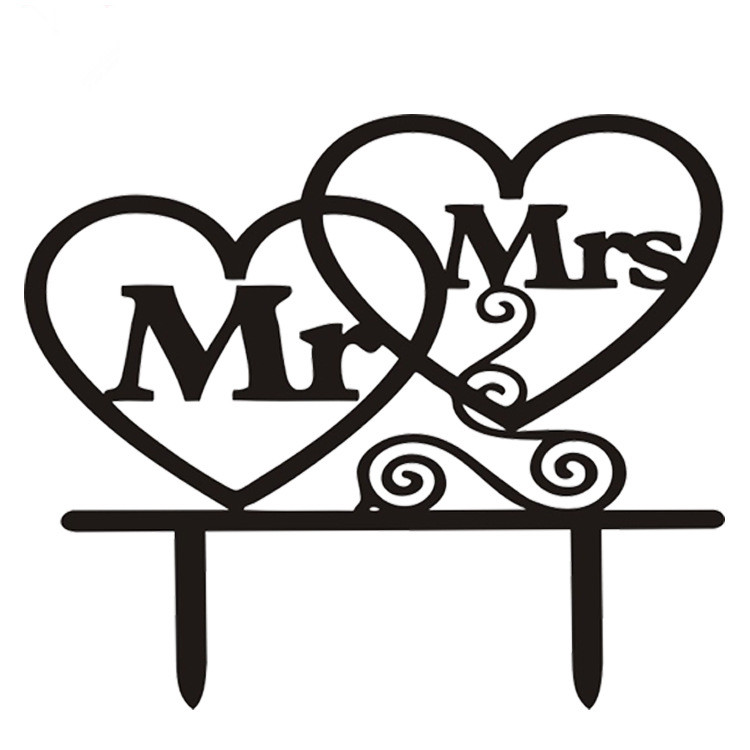 1 pc Preto Branco Mr & Mrs Acrílico Amor Corações Bolo Bandeira - Para feriados e festas