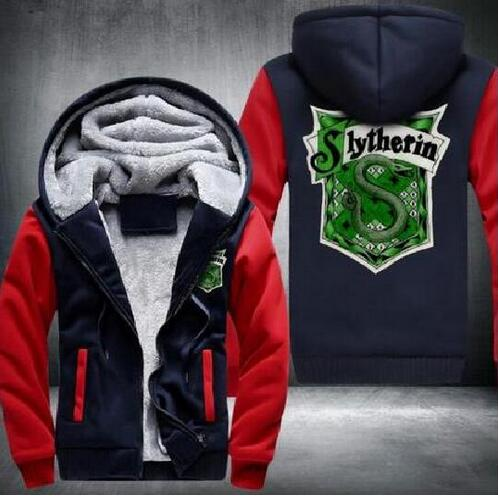 Wholesale Hoodies High Quality Anime slytherin Snake Padded Hoodies Zip Thickened Jacket SIZE:S-5XL