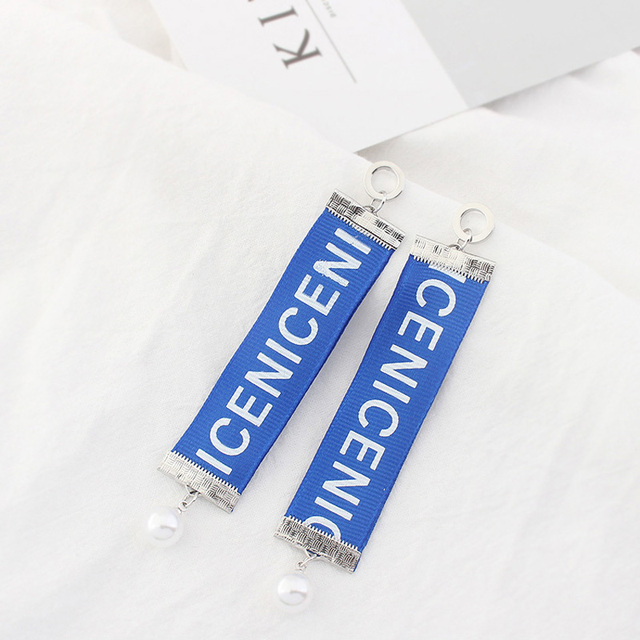 long rectangle earrings with blue letter cloth & white pearl
