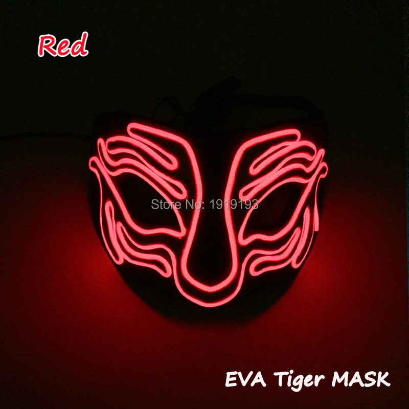 2019 Cheap Halloween EL Mask Flashing LED Neon Costume EVA Tiger Mask for Carnival Party Decoration with Sound Actived in Party Masks from Home Garden