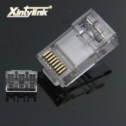 Xintylink rj45 موصل cat6 إيثرنت كابل التوصيل القط 6 شبكة 8pin rj 45 الذهب مطلي utp الذكور 8p8c مكشوف تحميل شريط 50 قطعة
