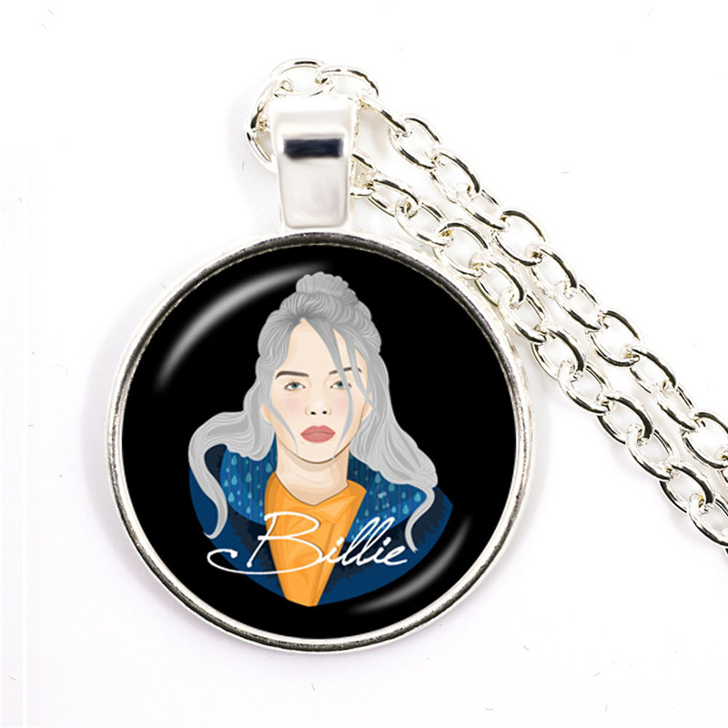 Popular Young Singer Billie Eilish Necklace Art Picture Hip-hop Music 25mm Glass Cabochon Pendant Jewelry For Music Fans Gift 5