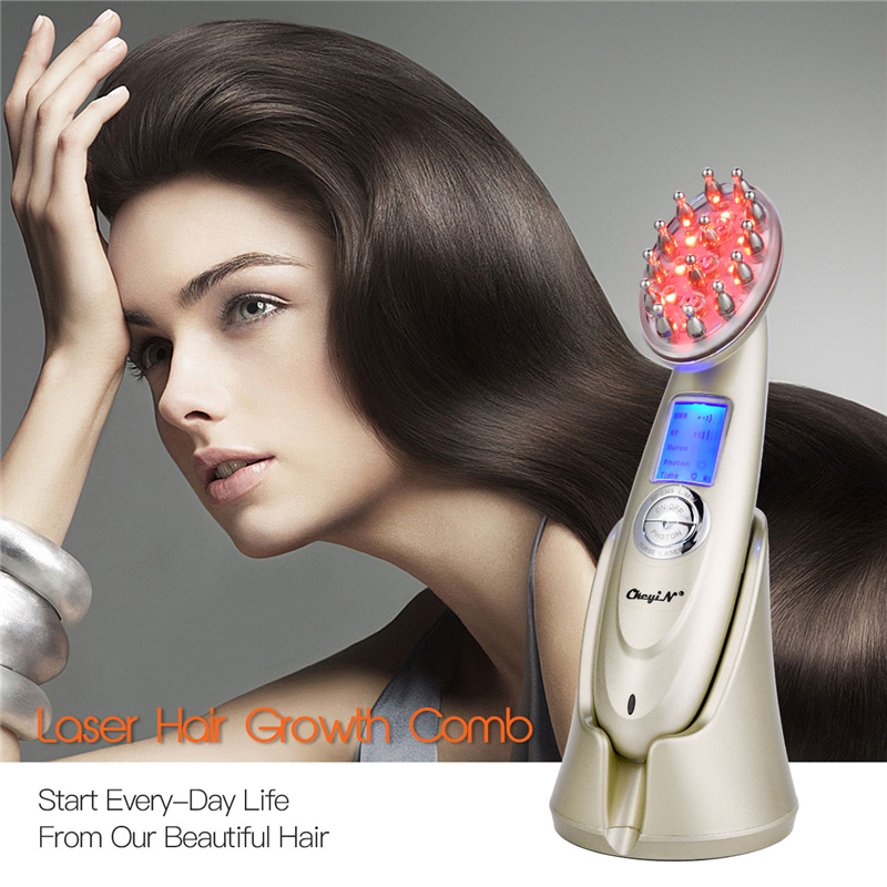 Anti Hair Loss Hair Growth Comb Nano IPL Infrared Light EMS Massage Hairbrush Regrowth Vibration Massager Electric Brush Tool <font><b>45</b></font> image