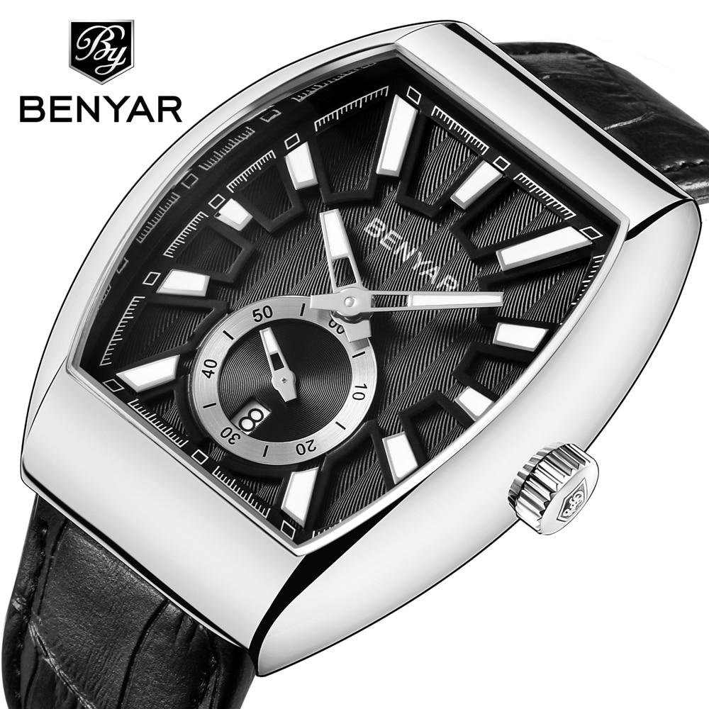 все цены на Reloj Hombre 2018 BENYAR New Luxury Brand Quartz Watch Men Waterproof Military Leather Watches xfcs Clock Male Erkek Kol Saati