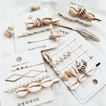 IF ME Fashion Korean Pearl Sea Shell Conch Hair Clip for Women Girl Bridal Metal HairPin