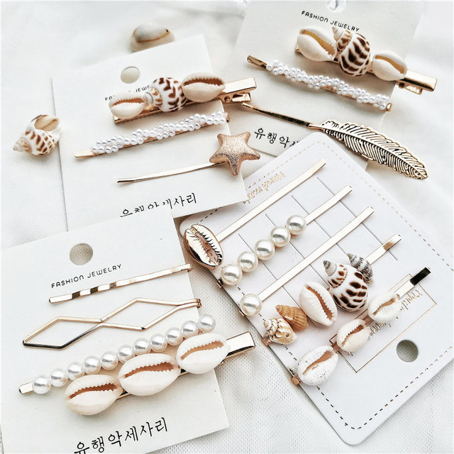 IF ME Fashion Korean Pearl Sea Shell Conch Hair Clip for Women Girl Bridal Metal HairPin Barrette Hair Accessories Jewelry 2019