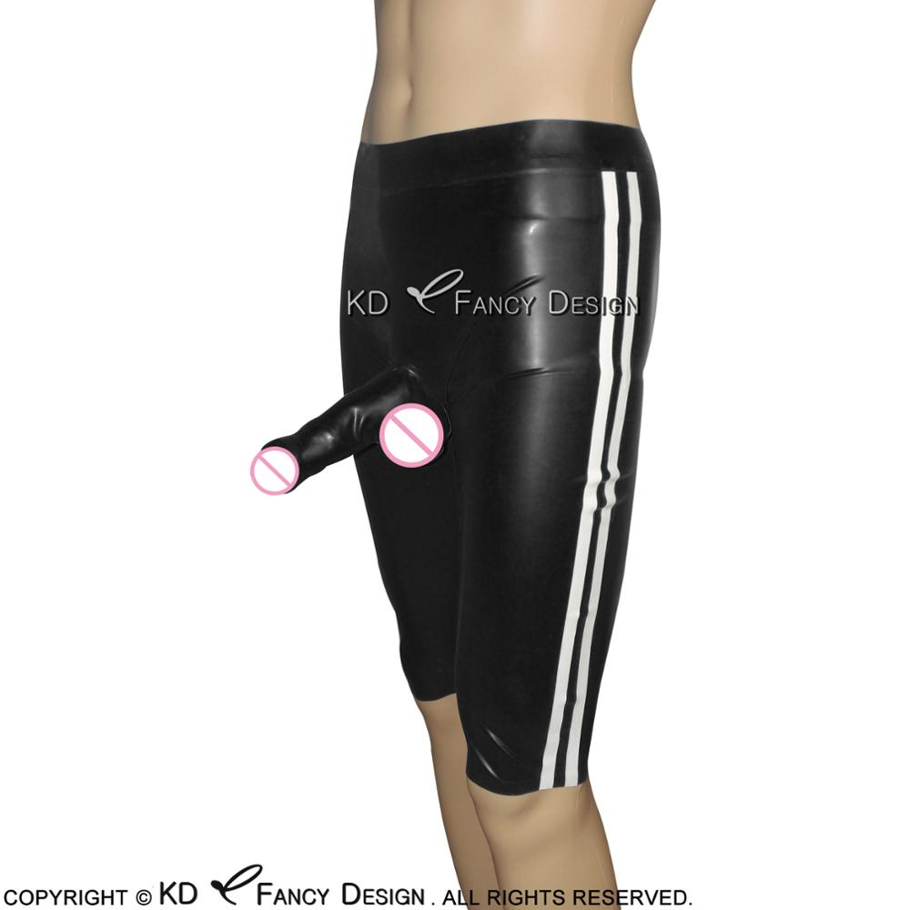 Black With White Stripes Latex Long Leg Boxer Shorts With Glued Penis Sheath Rubber Underwear Briefs Pants Bottoms DK-0088
