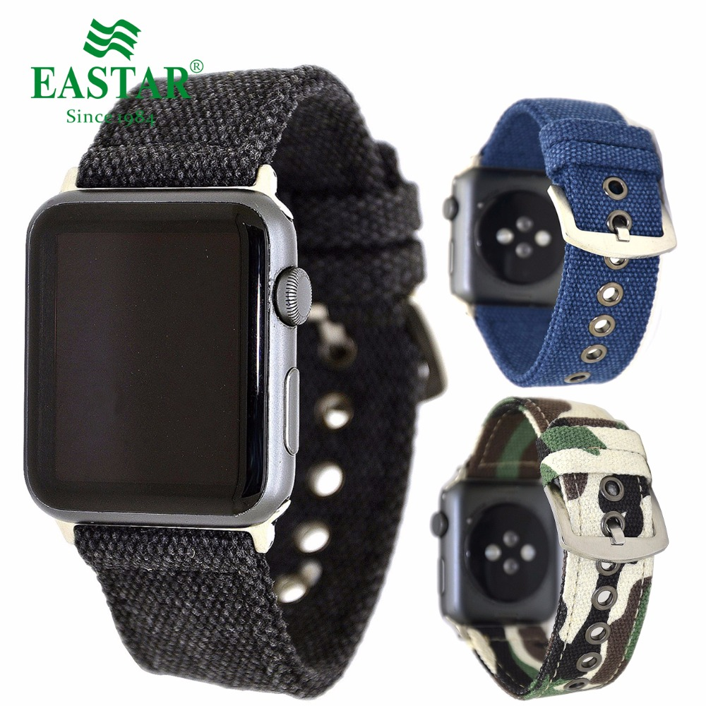 Eastar Camouflage Nylon Band Strap Watchband for Apple Watch Band Series 3/2/1 Sport Bracelet 42 mm 38 mm For iwatch Band survival nylon bracelet brown