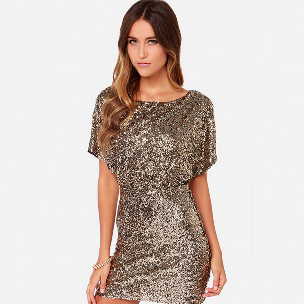 Sexy Women Sparkling Gold Sequin Dress Split O Neck Short Sleeves Bodycon  Dress Nightwear Back Cut Out Party Mini Dress Vestido-in Dresses from  Women s ... ac65db1c0845
