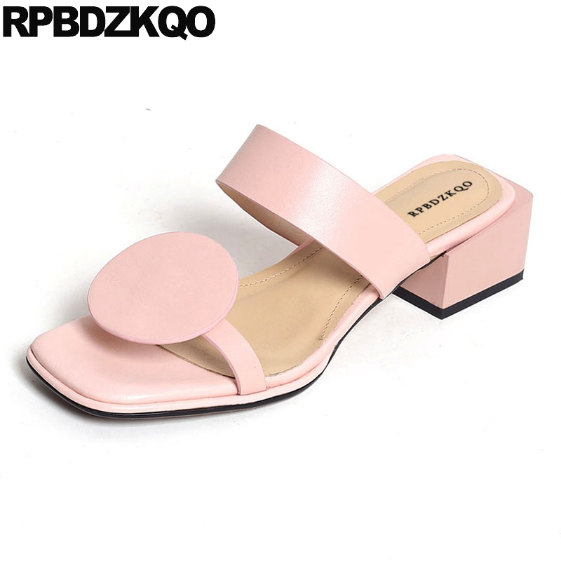 Square Strap Slides Sandals High Heels Pumps Thick Designer Shoes Women Luxury 2018 Slip On Pink Ladies Block Genuine Leather
