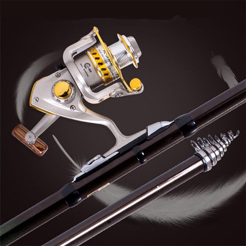 Nouvelle canne à pêche Rock canne à pêche télescopique moulinet Combo Kit complet moulinet de filature ensemble avec crochets leurres baril pivote sac de rangement - 2