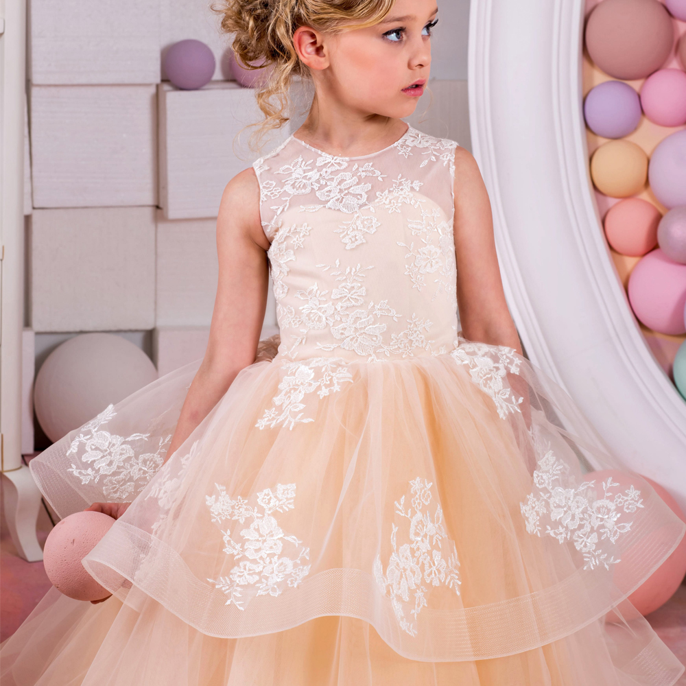 2017 New Flower Girl First Communion Dresses Orange Lace Up O-neck Sleeveless Ruffles Pageant Birthday Dresses Vestidos Hot Sale