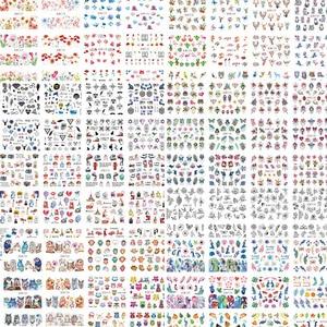 Image 2 - 12 Designs/Set Water Decals Nail Slider Flora/ Cartoon/ Geometric Watermark  Nail Sticker Decoration Wraps Manicure BN1117 1212