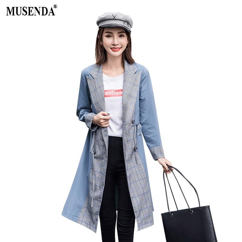 MUSENDA плюс Размеры Для женщин серый синий плед лоскутное шнурок талии длинный плащ пальто осень-зима леди Повседневное верхняя одежда Костюм...