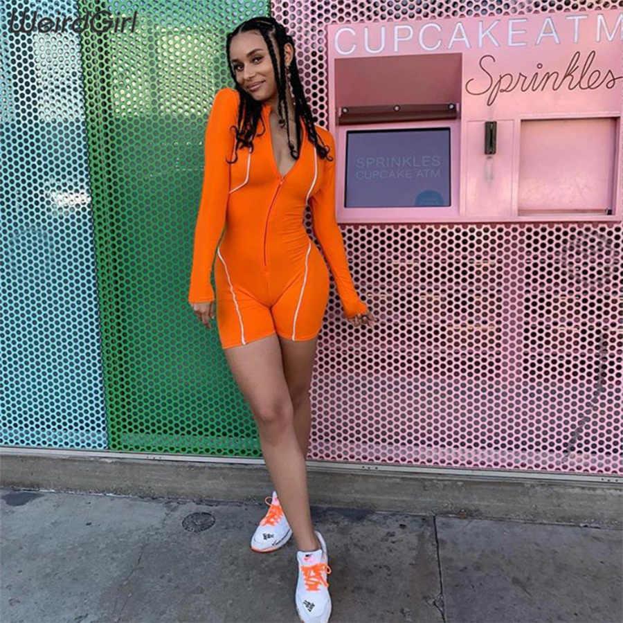 Weirdgirl frauen playsuits fitness reflektierende striped rollkragen zipper sportswear dünnen tennis femme elastische strampler neue sommer