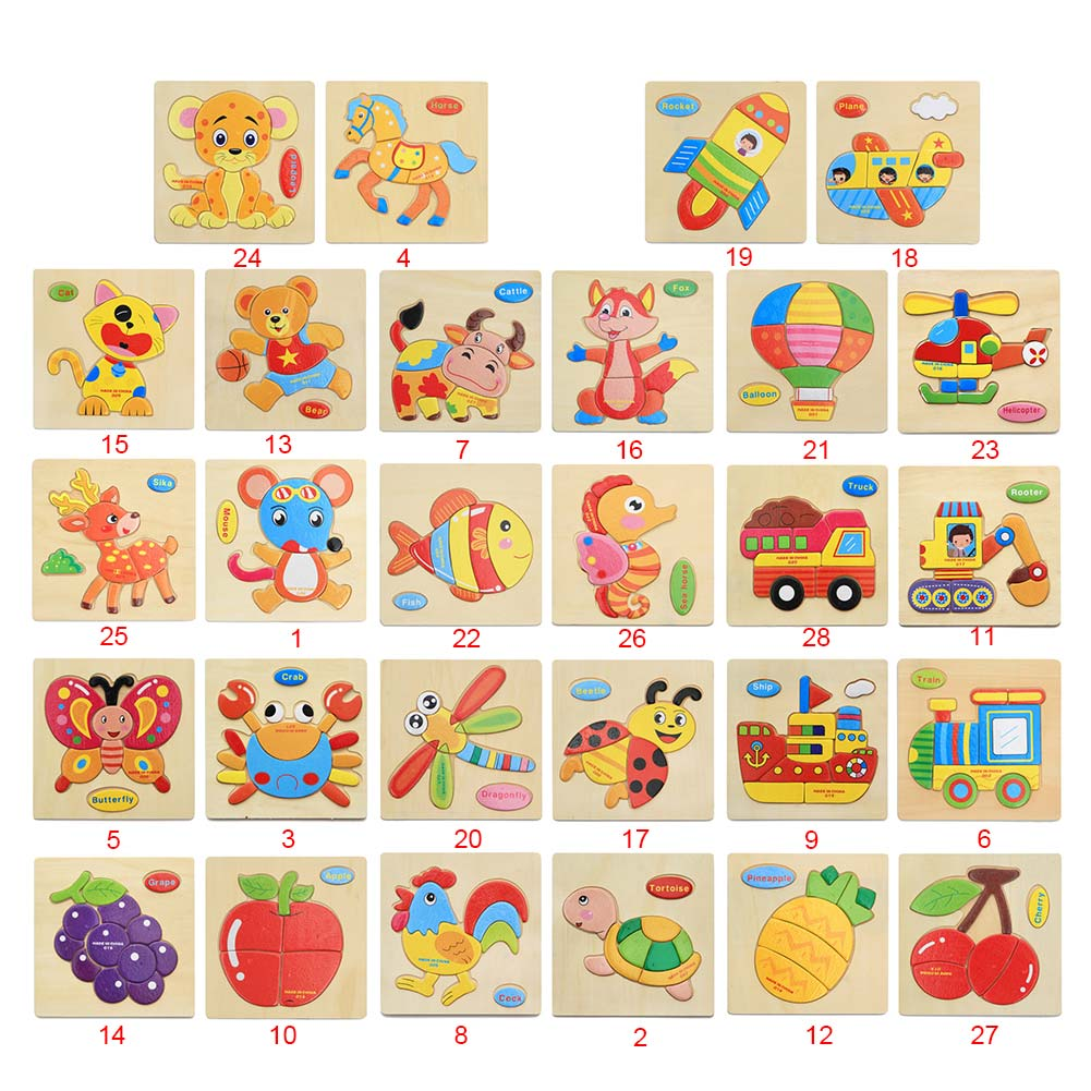 Hot Sellin  Wood 3D Puzzle Jigsaw Toys For Children Cartoon Brain Teaser Intelligence Kids Early Educational Toy -17 88 | Model Building