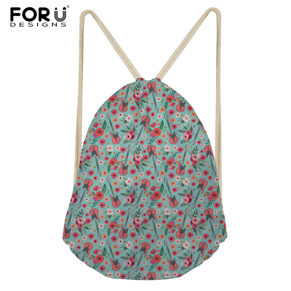 FORUDESIGNS 3D Flowers Guitar Printed Female Schoolbags Vintage Drawstring Bags Lightweight Travel Backpack Home String Package