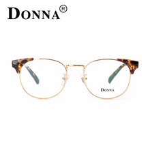 DONNA Vintage Wood Alloy Eyeglasses Optical Men Brand Clear Lens Circle Prescription Glasses Computer Glasses Women DN17