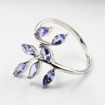 CoLife Jewelry silver leaf ring 7 pcs 3 mm * 6 mm natural VVS tanzanite silver ring solid 925 sterling silver tanzanite ring
