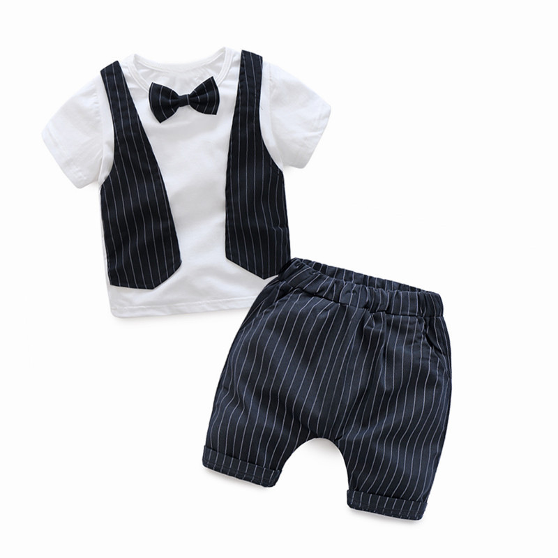 New Summer Boy Clothes Sets Kids Clothing Gentleman Suit White Short Sleeve Shirt+Striped Shorts 2pcs Formal Children Outfits
