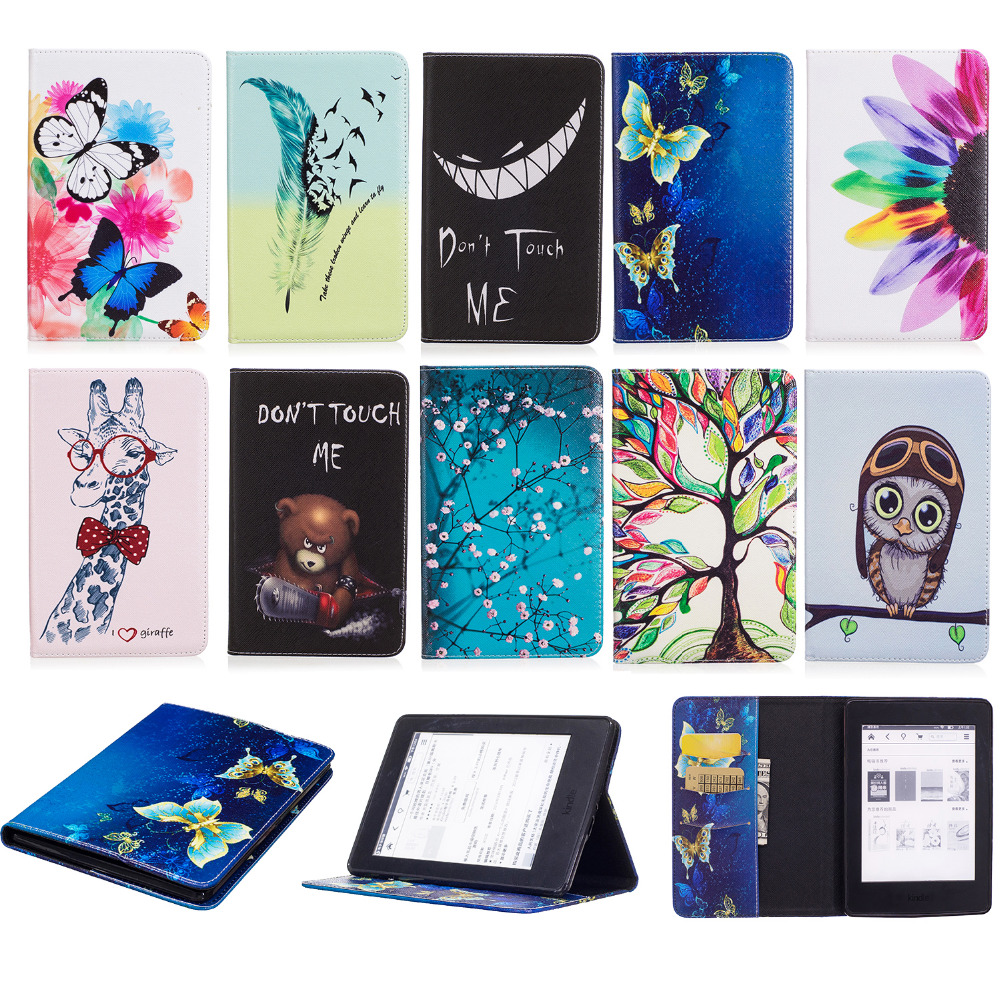 For Amazon Kindle Paperwhite 1 2 Paperwhite 3 2015 Tablet Case Print Flip Stand PU Leather