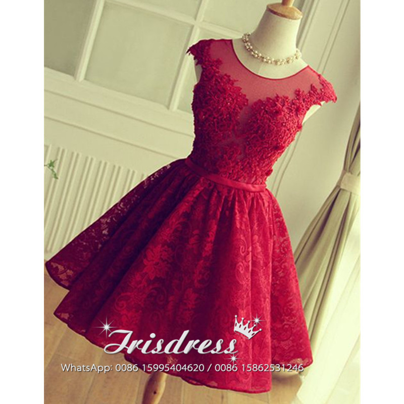 Sexy Knee Length Red Lace Bridesmaid Dresses 2017 With Hand Flowers African Vestido Madrinha Cheap Backless Wedding Party Gowns