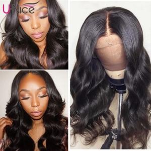 """Image 2 - Unice שיער 360 תחרה פרונטאלית פאה ברזילאי רמי גוף גל פאות 10 26 """"שיער טבעי פאות לנשים שחורות מראש קטף עם תינוק שיער"""
