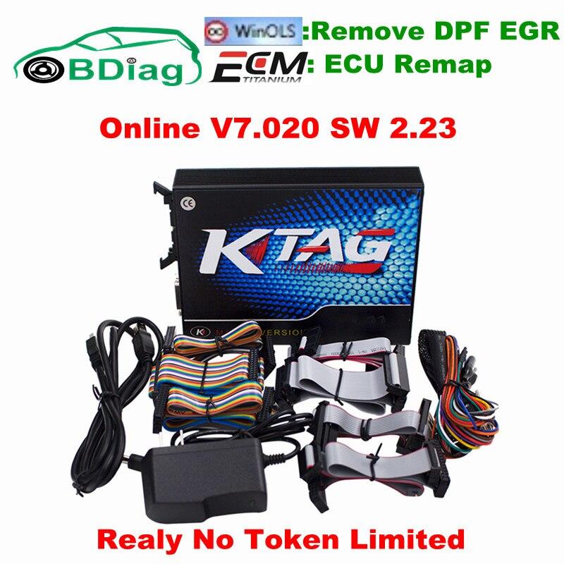 Prix pour Illimité V7.020 KTAG V2.23 Fonctionner En Ligne Ajouter 160 + Protocoles K TAG SW 2.23 FW 7.020 K-TAG ECU Programmation De Voiture Camion Tuning Outil