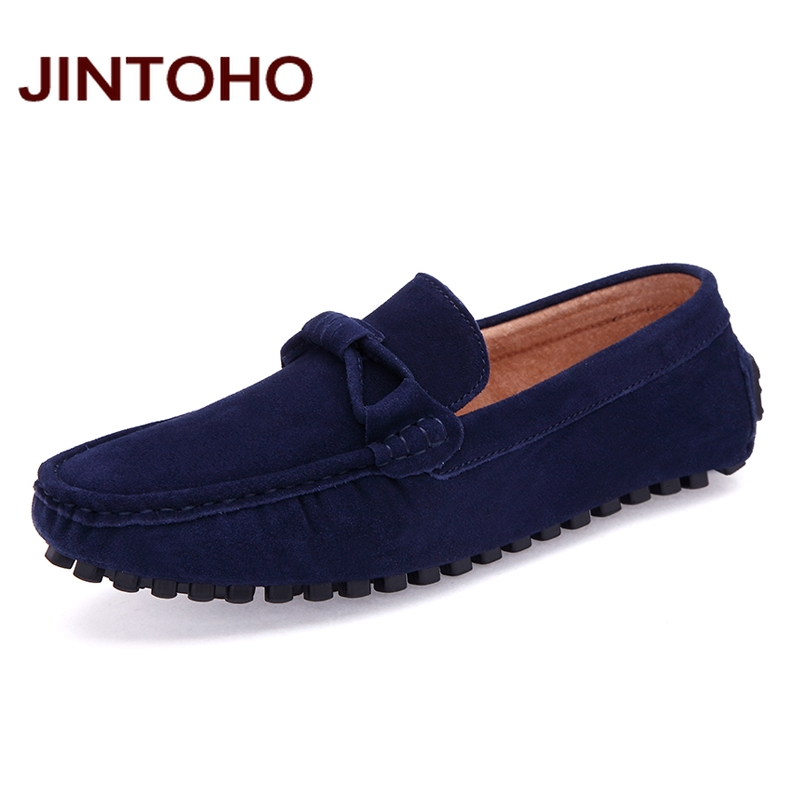 JINTOHO Big Size Men Boat Shoes High Quality Cow Suede Men Casual Shoes Slip On Loafers Casual Male Shoes Fashion Men Flats aleader high quality mens loafers casual fashion men shoes flats breathable men slip on driving shoes big size swims loafers