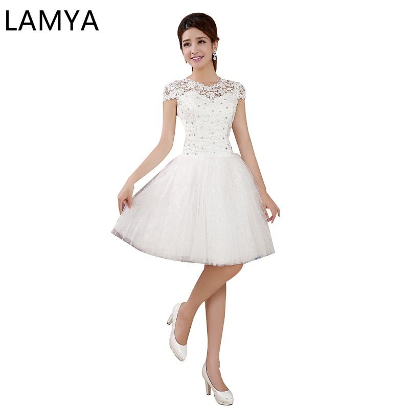 LAMYA 2019 Vestido Corto De Novia Glitter Short Wedding Pretty Appliques Plus Size Knee-Length Lace Short Wedding Dresses