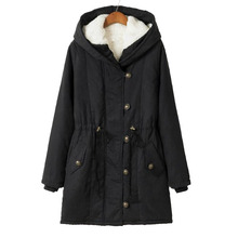 Thick Fur Long Big Size winter jackets Park-Female Warm Loosen Plus Size Women's Winter Coat With A Hood Long Jacket Women Coat