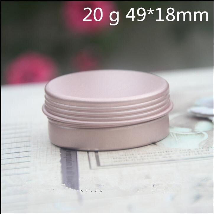 50 pcs Free Shipping 10 g 15 g 20 g Rose Golden Aluminum Small Jar Lip Balm Lipstick Sample Cans Mini Spice Storage Bank