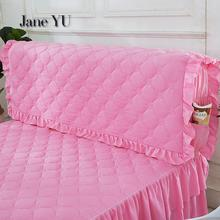 JaneYU Princess Clamps Cotton Thickening All Inclusive Bedspread Fabric Washable Solid Wood Skin Bed Soft Bedhead Cover