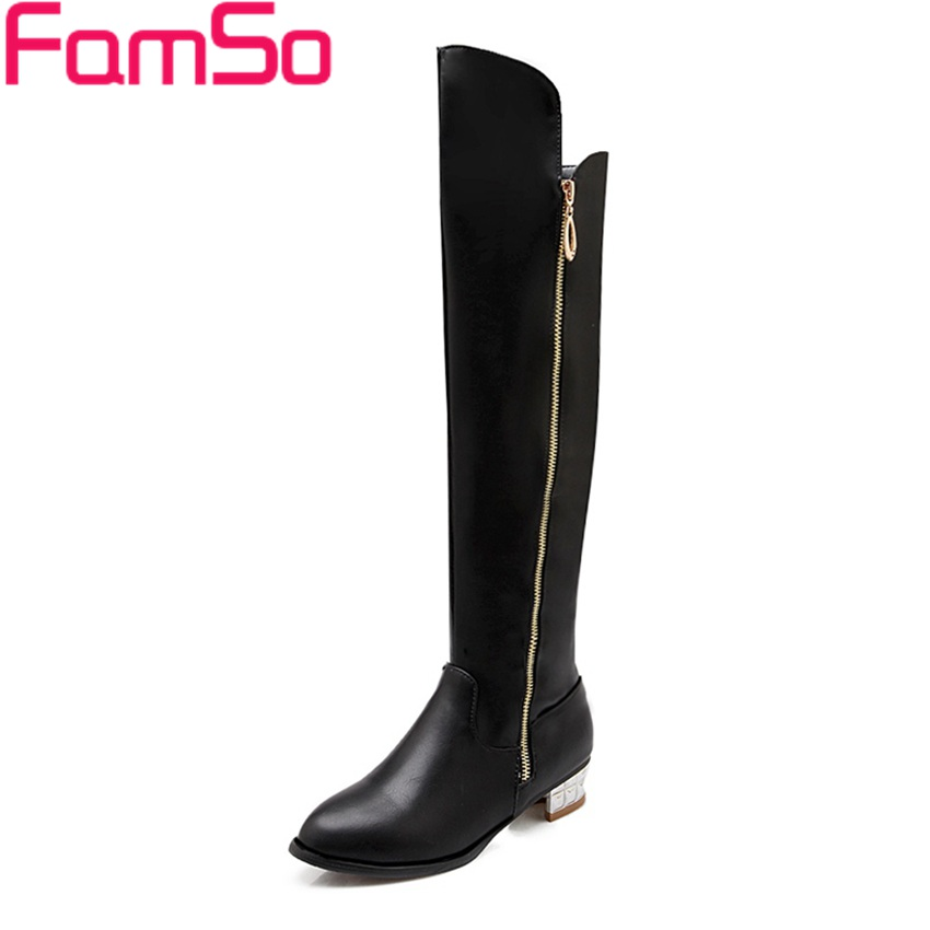 Plus Size34 43 2016 new Sexy font b Women b font Boots Thick heels Knee Boots