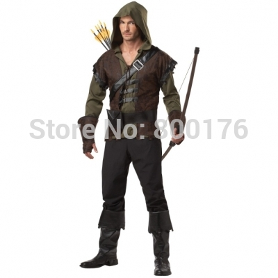 Men Robin Hood Medieval Fancy Dress Costume Archer Arrow Hunter Halloween Outfit