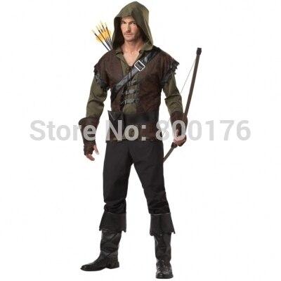 גברים רובין הוד בימי הביניים תחפושת תלבושות ארצ 'ר חץ צייד ליל כל הקדושים תלבושת