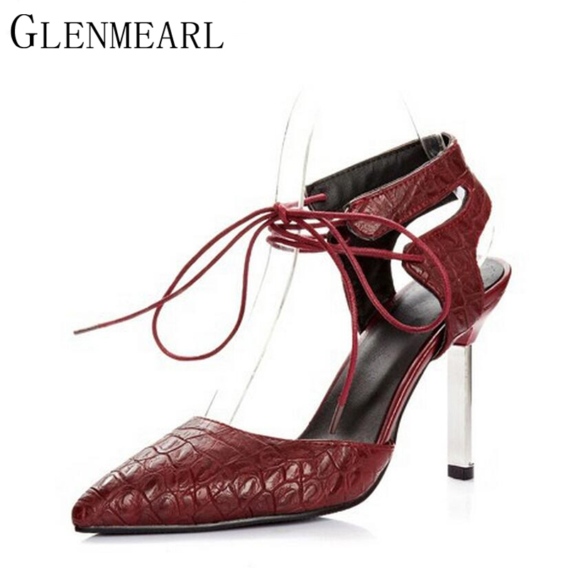 2018 New Women Pumps Shoes Summer Spring Sexy Pointed Ankle Strap Brand Red Black High-heeled Female High Heels Shoes ZK1.5 2016 spring and summer free shipping red new fashion design shoes african women print rt 3