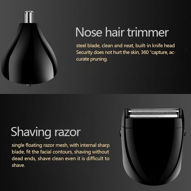 Kemei KM-1407 3 in 1 Hair Trimmer Rechargeable Hair Clipper Electric Shaver Beard Nose Trimmer Styling Tools Shaving Machine 4